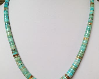 Santo Domingo Graduated Turquoise Sterling 4-10mm Heishi Necklace 18.25""