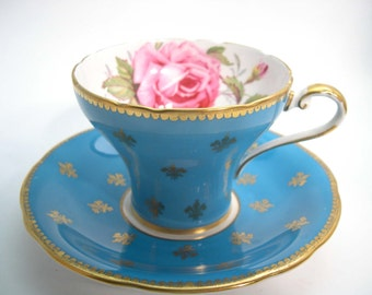 Aynsley tea cup and saucer with Fleur de Lis, Turquoise Blue and gold tea cup set, Pink Rose and Gold Fleur-de-lis.