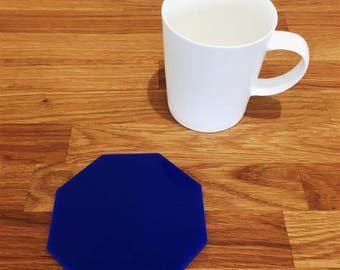 Octagon Shaped Blue Acrylic Coasters