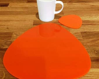 Pebble Shaped Placemats or Placemats & Coasters - in Orange Gloss Finish Acrylic 3mm