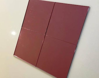 """Pink Mirrored Acrylic Square Crafting Mosaic & Wall Tiles, Sizes: 1cm to 20cm - 1"""" to 7.9"""""""