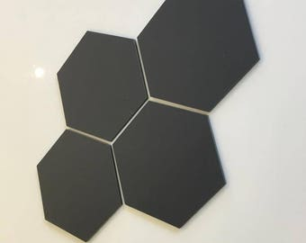 "Graphite Dark Grey Mat Acrylic Hexagon Crafting Mosaic & Wall Tiles, Sizes: 1cm to 20cm - 1"" to 7.9"""
