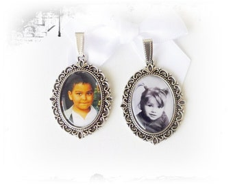 Pendant, personalized with photo, bronze and silver colors