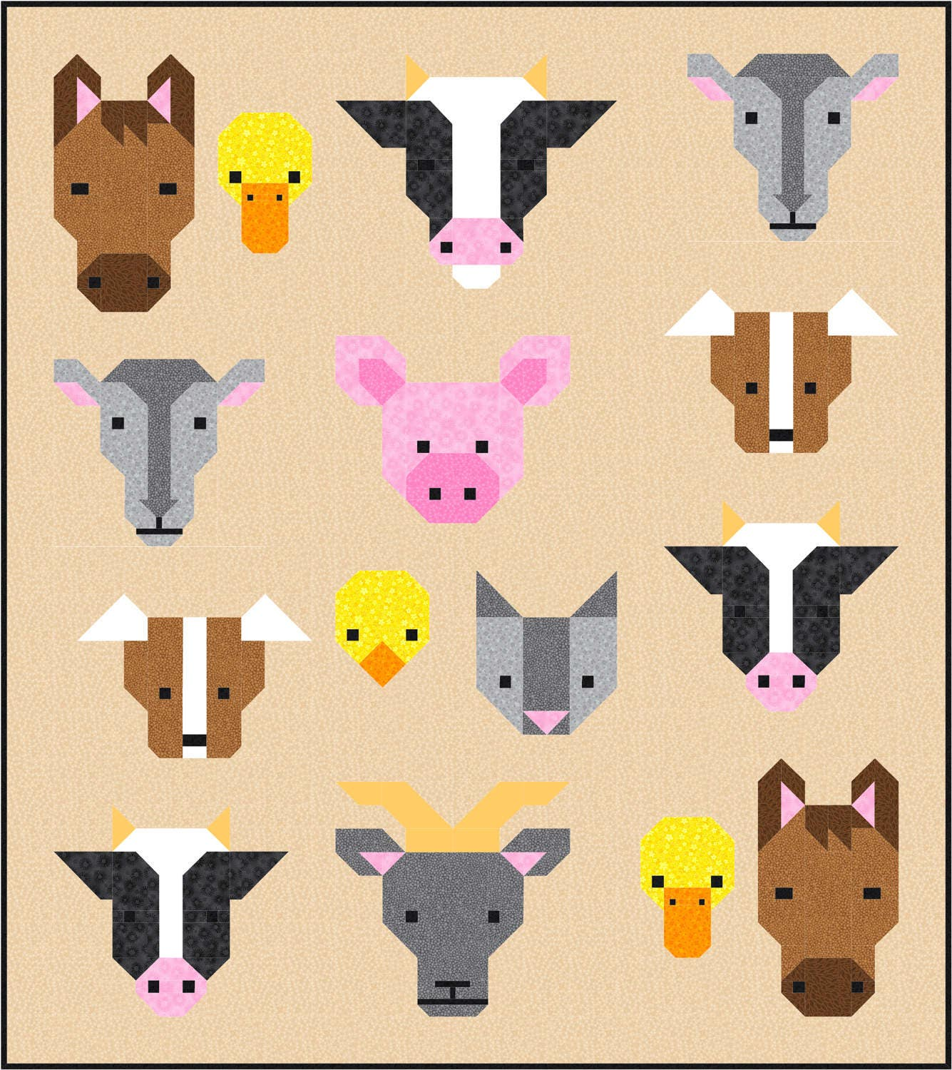 Farm Friends Quilt Pattern, PDF, Instant Download, farm animal ... : cow quilt block - Adamdwight.com