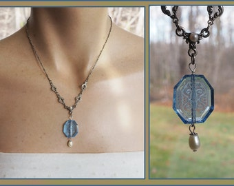 Vintage Blue Carved Glass Necklace - Genuine Pearl Drop - Intaglio Pendant - Silver Tone
