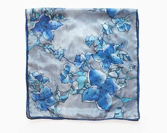 Blue Blossoms scarf- Silk scarf- Grey scarf- Floral silk scarf- Silk painted scarf- Gray blue scarf- Women scarves- Hand painted Blue scarf