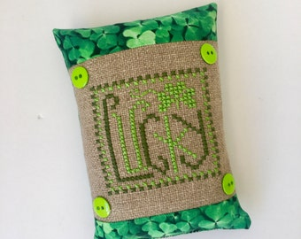 St. Patrick's Day lucky shamrock cross stitch pillow, pin cushion, finished, completed