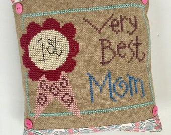 Mother's Day Best Mom cross stitch burlap pillow, pin cushion