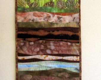 Hand painted fabric art quilt, wallhanging  - Earth layers - fiber art