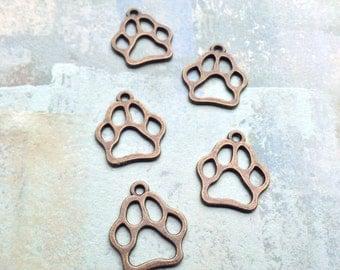 10 Paw Print Charms / Paw Print Charms / Paw Print Charm / Antique Bronze Paw Print Charms