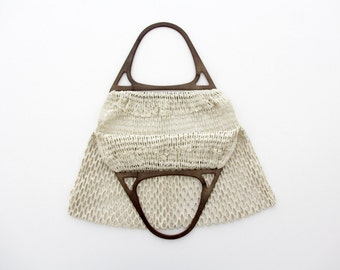Vintage tote // off white canvas lace handbag with plastic handle