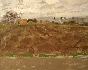 original oil on wood landscape sketch