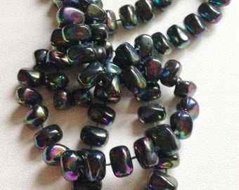 black iridescent beaded long necklace