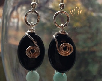 Black Agate and Turquoise Blue Quarz Earrings