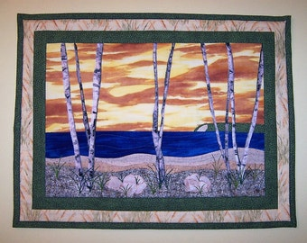 Quilted Fabric Art Wallhanging - Birch Trees on the Beach at Sunset - Landscape Quilt