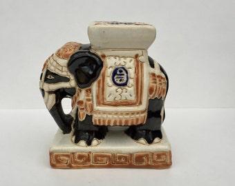 SALE! Vintage Hand painted Glazed Ceramic Indian Elephant Statuette Vintage Indian Elephant Ornament Home Decor