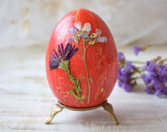 Easter gifts etsy easter decor easter wood egg real dried flower easter table decoration happy easter gift wooden eggs negle Images