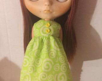 Dress for Blythe green swirls