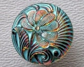 CZECH GLASS BUTTON: 18mm Handpainted Czech Glass Nouveau Flower Button, Pendant, Cabochon (1)