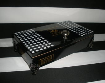 Black, Lacquered, San Andres Limited Edition Cigar Box Valet, Watch Box, Stash Box, Jewelry Box, Gun Box, Authentic, Tampa