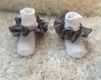 Gray satin ruffle socks