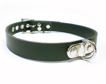 "3/4"" Vegan ""Leather"" BDSM Collar with small Plated Dee Ring for fetish slave or submissive"