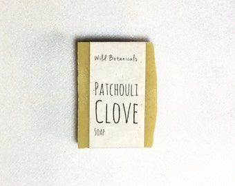 Patchouli Clove Soap, Organic Soap, All Natural, Scented, Vegan, Handmade, Cold Process Soap, Wildflower Seed Paper