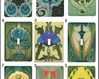 Metal Deco Light Switch Cover Series One - Art Nouveau - 1T Single Toggle - Single Gage Light Switch