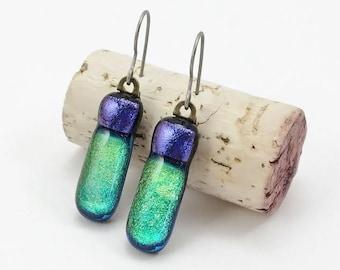 Fused Glass Earrings, Fused Glass Jewelry, Dichroic Glass Earrings, Green Glass Earrings, Dichroic Earrings, Hypoallergenic Earrings