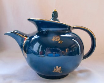 Hall Windshield Teapot in Teal - Rare