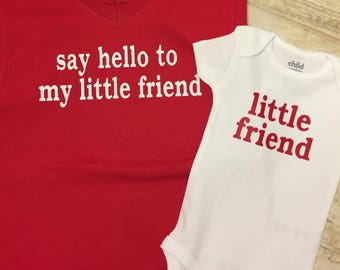 Big Brother Little Brother Tee And Onesie Set, Say Hello To My Little Friend Tee, Little Friend Onesie, Cute Quotes