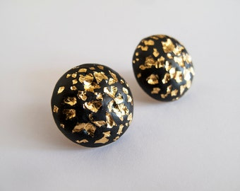 Large Black and 23k Gold  Round Stud Earrings - Surgical Steel Posts
