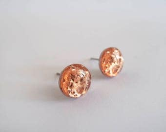 Copper Stud Earrings - Hypoallergenic Titanium Posts