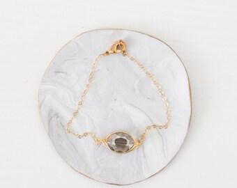 Simple Minimal Layering Gold Bracelet - Dainty Delicate Gold Bracelet- Charcoal Gold Bracelet - Modern Layering Gold Bracelets
