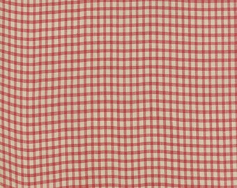 Moda Petite Woven Red Tan Plaid French General Fabric 12557-12 BTY