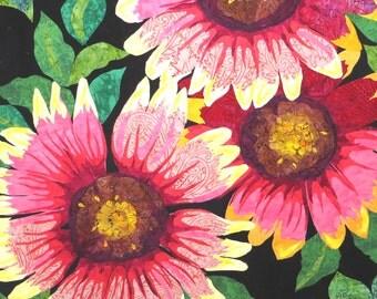 Texas Wildflower Batik Melinda Bula Wallhanging 32 x32 Quilt Kit Fusible - Laser Cut