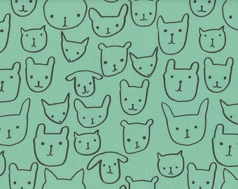 Cotton and Steel Printshop Alexia Abegg Cat Dog Faces Hello Seaglass 4033-002 BTY 1 Yd