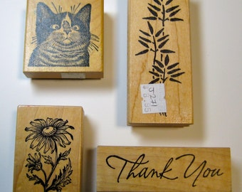 Rubber Stamps Lot of Four Wood Mounted Stamps,   Kitty, Bamboo, Thank You, Daisy   -   Excellent Used Condition