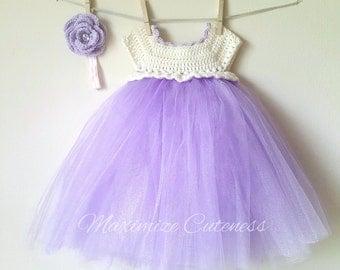 Crochet Tutu Dress, Baby Girl Dress, Crochet Tulle Dress, Tulle Dress, First Birthday Dress, Ivory and Purple Dress, Photography Prop