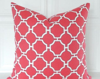 Red Pillow Cover - Red Throw Pillow - Red Geometric Pillow - Red White Pillow - Red Couch Pillow - Geometric Red Pillow - Red Accent Pillow
