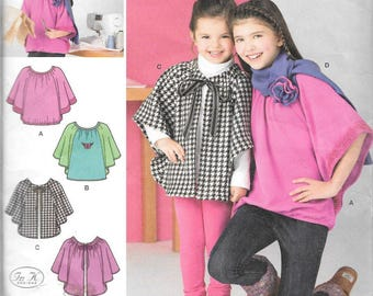 Simplicity Learn to Sew Pattern 1763 KNIT TOP Fleece CAPELET Scarf Girls 7 8 10 12 14