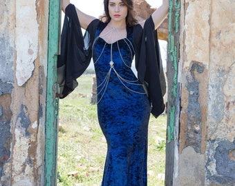 Blue velvet mermaid style fantasy goth dress