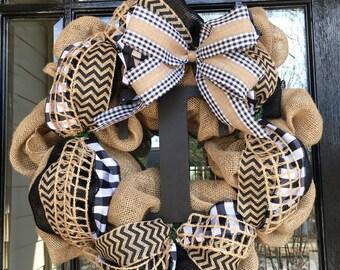 Burlap gingham wreath with blacks//chevrons//center monogram
