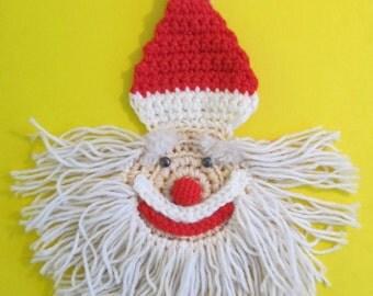 Macrame Santa, Santa, Santa Claus, Macrame Santa Claus, St Nick Macrame, St Nick, Macrame, Vintage Macrame, Christmas, Christmas Decorations