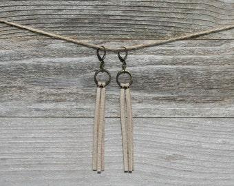 Repurposed Leather Fringe Earrings. Boho Earrings. Leather Fringe. Fringe Earrings. Boho Jewelry.