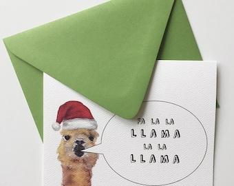 Llama Christmas Card/ Punny Christmas Card/ Punny holiday card/ Watercolor Holiday Card/ christmas carol card/ holiday pun
