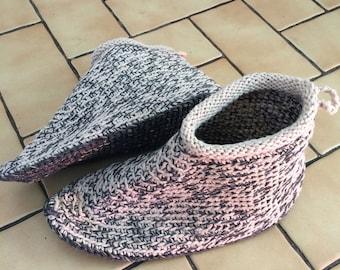Handmade cotton slipper boots