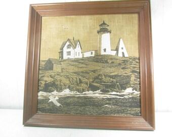Art, painting, framed art, vintage painting, landscape, coastal, lighthouse ,fabric painting, beach, sea, neutral, farmhouse decor,