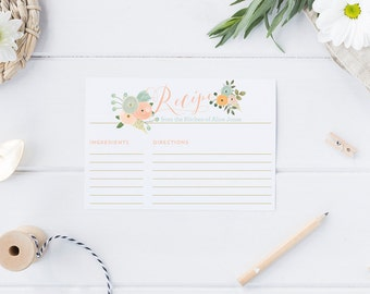 Printable Recipe Cards -  Floral Bridal Shower Recipe Cards