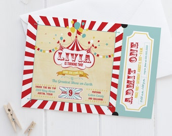 Vintage Carnival Birthday Party or Baby Shower Invitations - Circus Ticket Invites - Red, Yellow, & Blue - Printed Cards